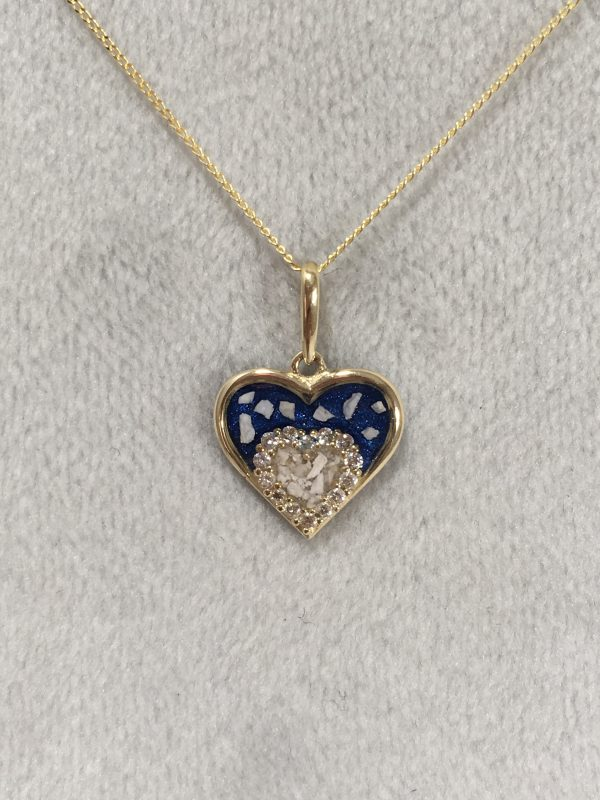 9ct Gold Double Heart Pendant Angie S Ashes Memorial